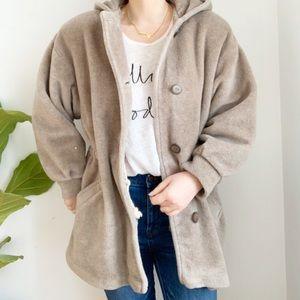 Vintage Taupe Teddy Bear Chunky Jacket Coat Size M